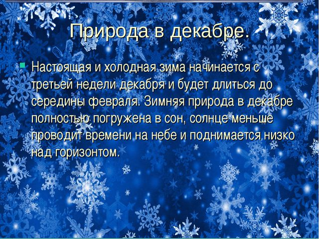 Природа в декабре. Настоящая и холодная зима начинается с третьей недели дека...
