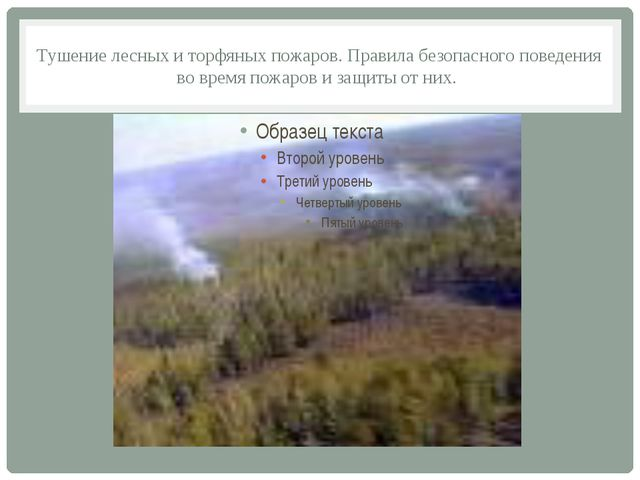 Тушение лесных и торфяных пожаров. Правила безопасного поведения во время пож...