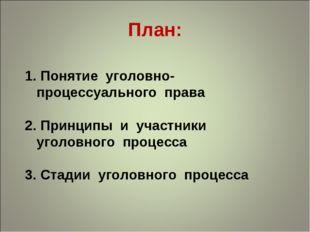 План: Понятие уголовно-процессуального права Принципы и участники уголовного