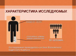 ХАРАКТЕРИСТИКА ИССЛЕДУЮМЫХ Исследование проводилось на базе Московского Кадет