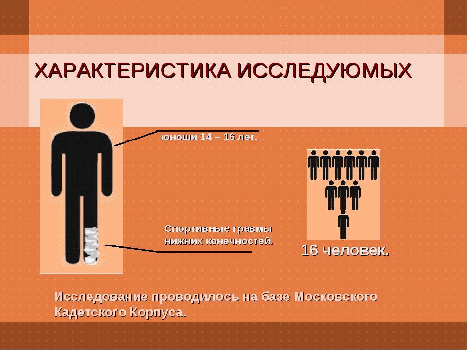 ХАРАКТЕРИСТИКА ИССЛЕДУЮМЫХ Исследование проводилось на базе Московского Кадет...