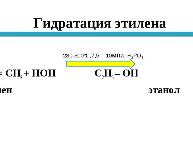 Гидратация этилена Н2С = СН2 + НОН С2Н5 – ОН этилен этанол 280-300оС,7,5 – 10...