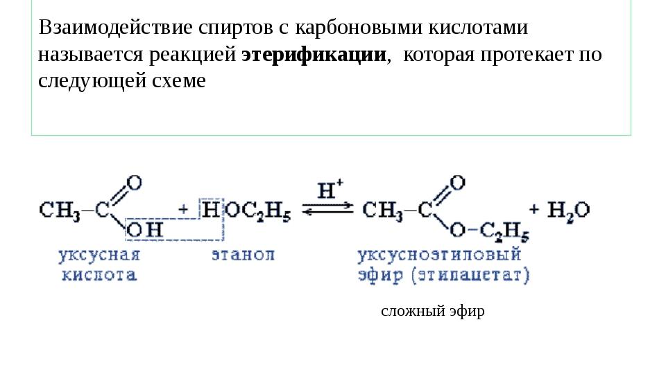Взаимодействие спиртов с карбоновыми кислотами называется реакцией этерифика...