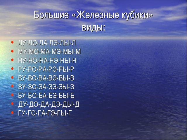 Большие «Железные кубики» виды: ЛУ-ЛО-ЛА-ЛЭ-ЛЫ-Л МУ-МО-МА-МЭ-МЫ-М НУ-НО-НА-НЭ...