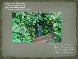 Из-под земли забил родник, Святая в нем течет вода, И если ты к нему приник,