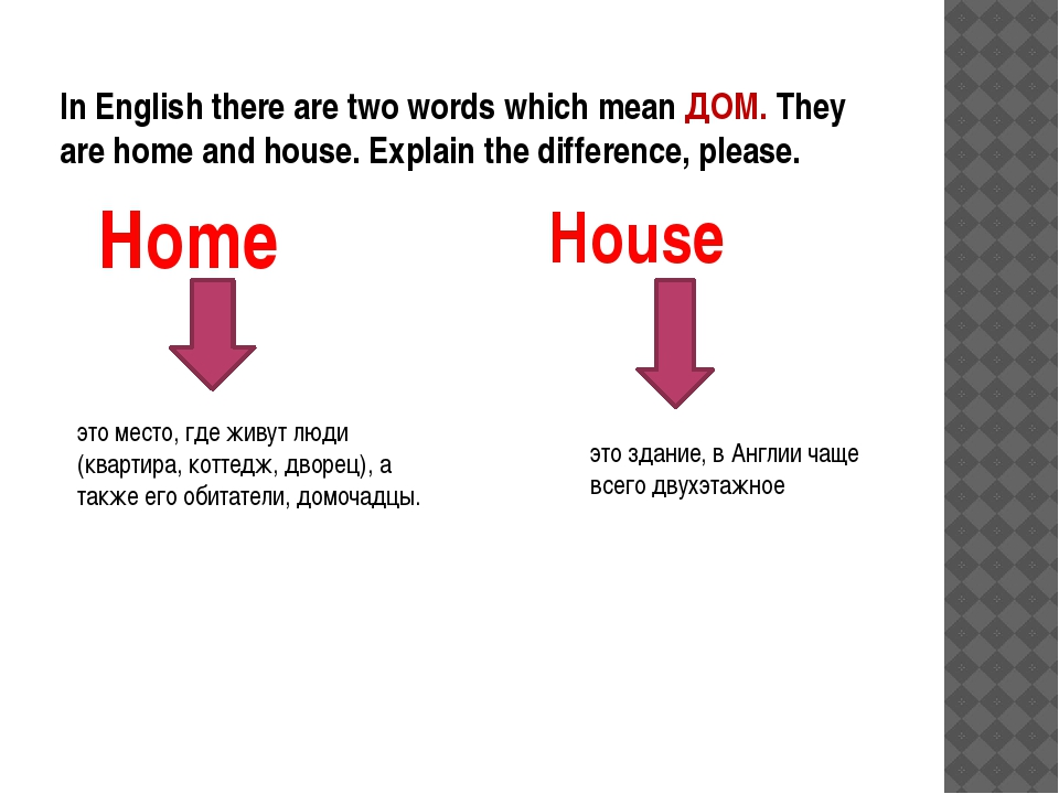 In English there are two words which mean ДОМ. They are home and house. Expla...