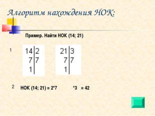 Алгоритм нахождения НОК: Пример. Найти НОК (14; 21) 1 2 НОК (14; 21) = 2*7 *3