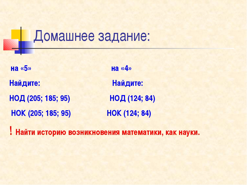 Домашнее задание: на «5» на «4» Найдите: Найдите: НОД (205; 185; 95) НОД (124...
