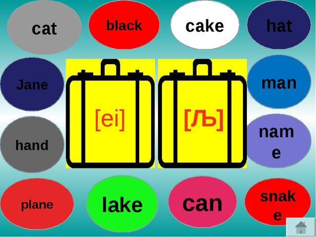 hat Jane hand plane lake can snake name man cake black cat [ei] [ǣ]