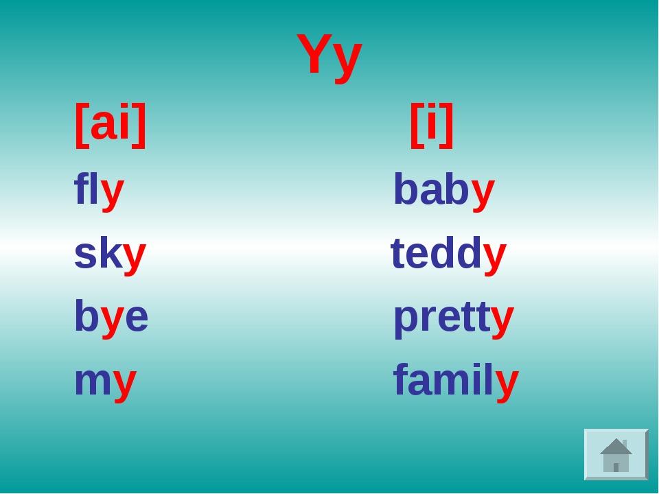 Yy [ai] [i] fly baby sky teddy bye pretty my family