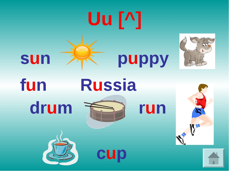 Uu [^] sun puppy fun Russia drum run cup
