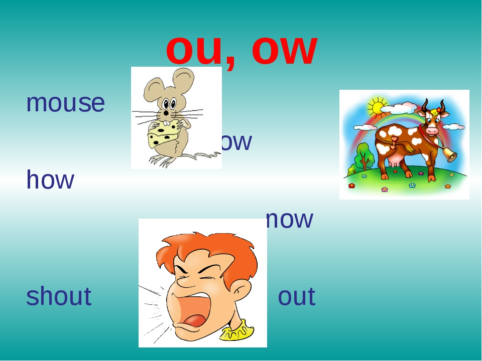 ou, ow mouse cow how now shout out