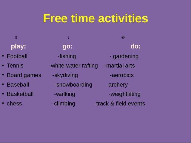 Free time activities ↙ ↓ ↘ play: go: do: Football -fishing - gardening Tennis...