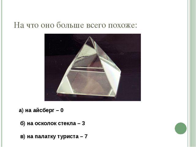 На что оно больше всего похоже: а) на айсберг – 0  б) на осколок стекла –...