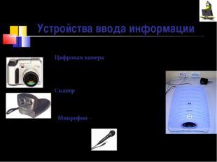 Цифровая камера (видеокамеры и фотоаппараты) – позволяет получать изображения