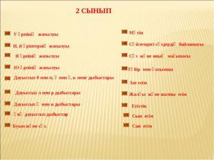 2 СЫНЫП У әрпінің жазылуы И, й әріптернің жазылуы Я әрпінің жазылуы Ю әрпінің