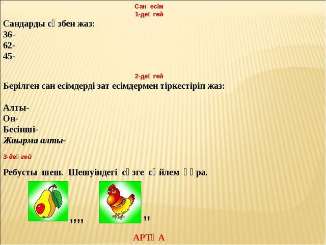 Сан есім 1-деңгей Сандарды сөзбен жаз: 36- 62- 45-  2-деңгей Берілген сан ес...