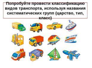 Попробуйте провести классификацию видов транспорта, используя названия систем