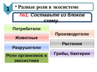 №1. Составьте из блоков схему. Производители Потребители Разрушители Роли орг