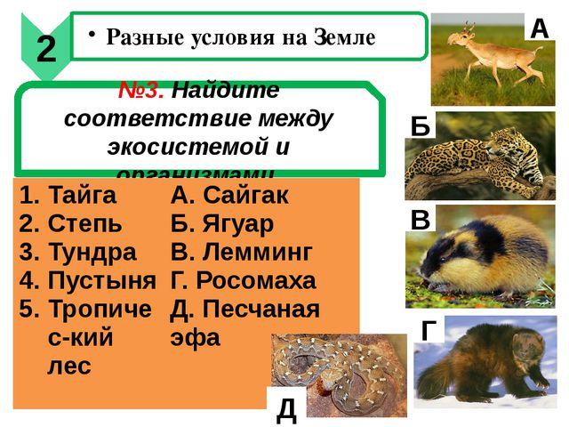 №3. Найдите соответствие между экосистемой и организмами А Б В Г Д 2 Разные у...
