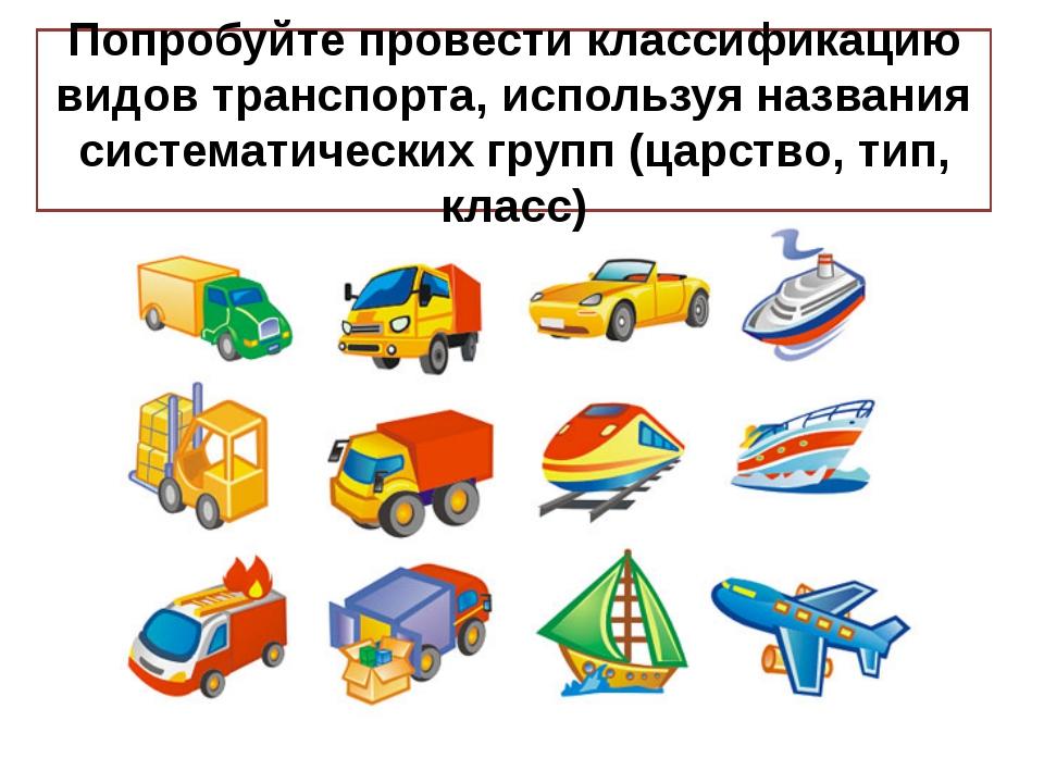 Попробуйте провести классификацию видов транспорта, используя названия систем...
