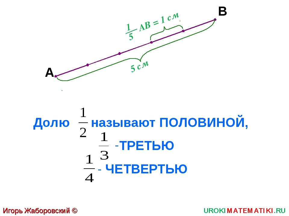 Игорь Жаборовский © 2011 UROKIMATEMATIKI.RU А В 5 см АВ = 1 см Долю называют...