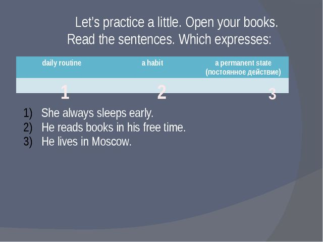 Let's practice a little. Open your books. Read the sentences. Which expresses...