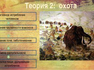 Теория 2: охота Активное истребление человеком Сокращение численности мамонто