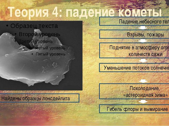 Теория 4: падение кометы Найдены образцы лонсдейлита Падение небесного тела В...