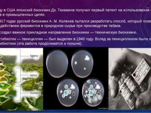 В 1891 году в США японский биохимик Дз. Такамине получил первый патент на ис