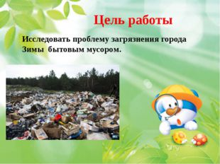 Цель работы Исследовать проблему загрязнения города Зимы бытовым мусором.