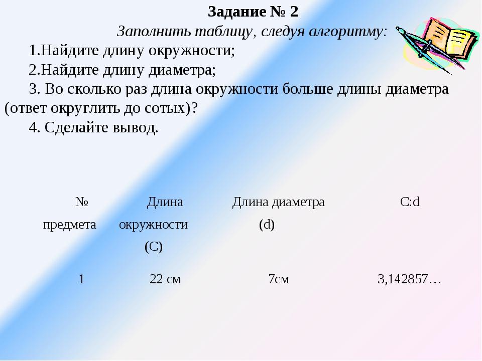 Задание № 2 Заполнить таблицу, следуя алгоритму: 1.Найдите длину окружности;...