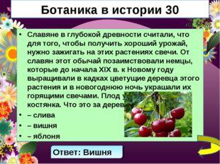 Ботаника в истории 30 Славяне в глубокой древности считали, что для того, что