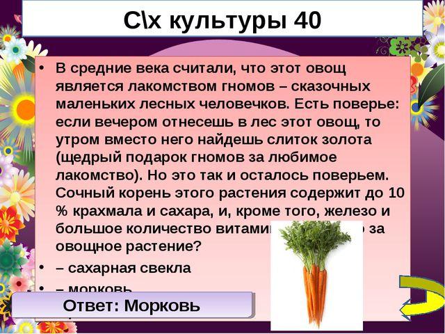 С\х культуры 40 В средние века считали, что этот овощ является лакомством гно...