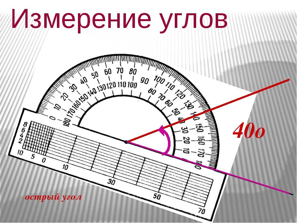Измерение углов 40о острый угол