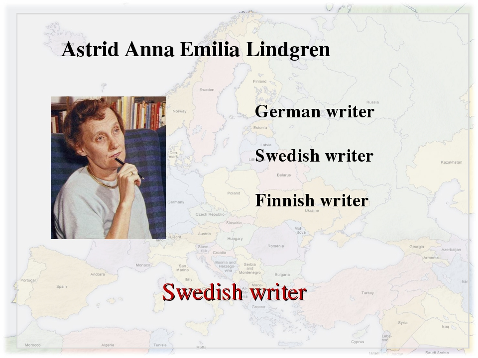 Astrid Anna Emilia Lindgren German writer Swedish writer Finnish writer Swedi...