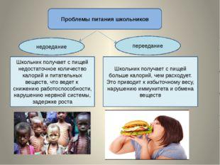 Проблемы питания школьников недоедание переедание Школьник получает с пищей н