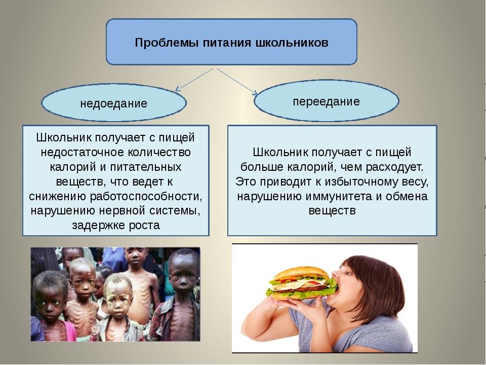 Проблемы питания школьников недоедание переедание Школьник получает с пищей н...