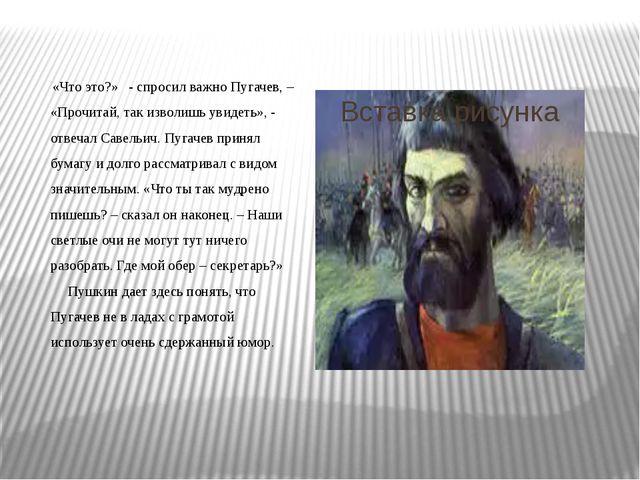 «Что это?» - спросил важно Пугачев, – «Прочитай, так изволишь увидеть», - от...