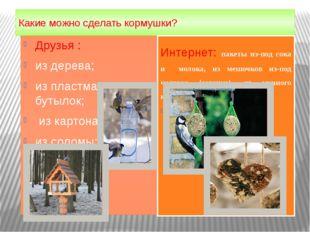 Какие можно сделать кормушки? Друзья : из дерева; из пластмасс. бутылок; из к