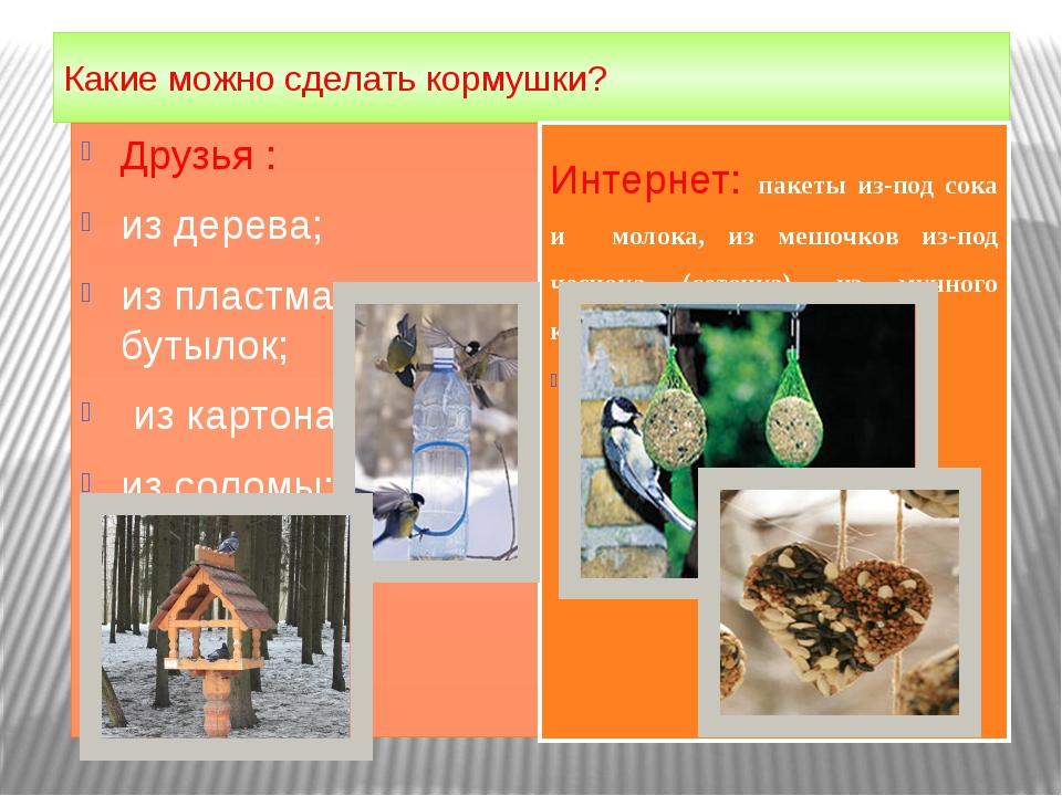 Какие можно сделать кормушки? Друзья : из дерева; из пластмасс. бутылок; из к...