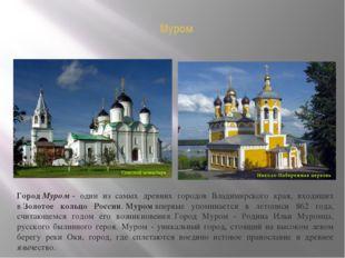Муром ГородМуром- один из самых древних городов Владимирского края, входящи