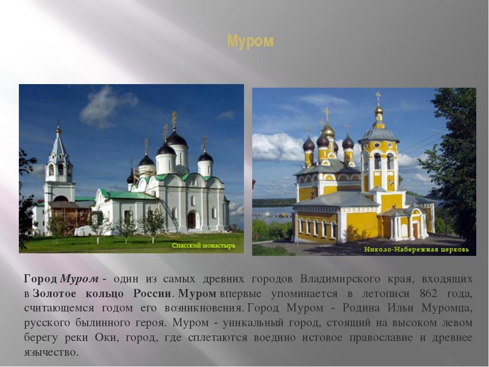 Муром ГородМуром- один из самых древних городов Владимирского края, входящи...
