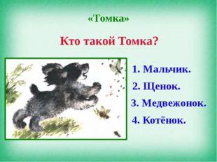«Томка» Кто такой Томка? 1. Мальчик. 2. Щенок. 3. Медвежонок. 4. Котёнок. 2.