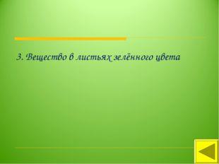 3. Вещество в листьях зелённого цвета