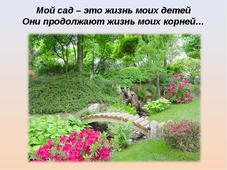 Мой сад – это жизнь моих детей Они продолжают жизнь моих корней…