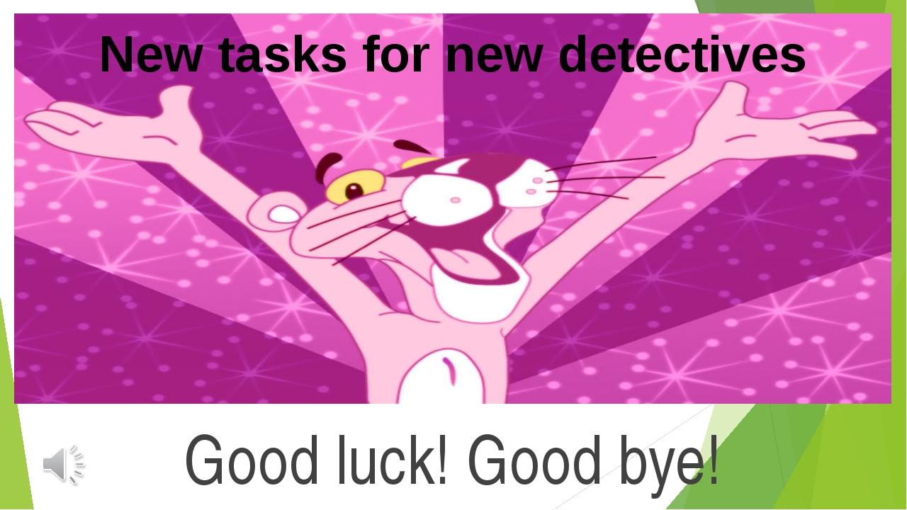 Good luck! Good bye! New tasks for new detectives