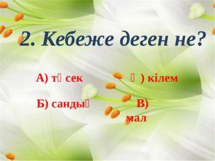2. Кебеже деген не? А) төсек Ә) кілем Б) сандық В) мал