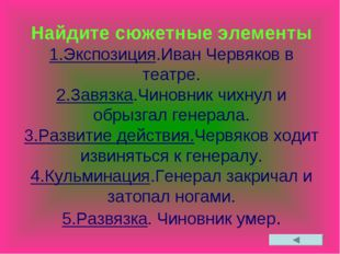 Найдите сюжетные элементы 1.Экспозиция.Иван Червяков в театре. 2.Завязка.Чино