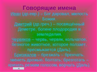 Говорящие имена Иван (др.евр.) – Бог даровал, милость Божия. Дмитрий (др.греч